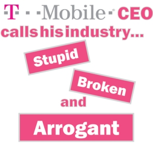 T-Mobile CEO John Legere has proven himself to be the most outspoken CEO of the big cellphone carriers. See our Facebook post: http://ow.ly/nzaaS