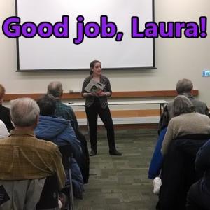Laura Goldberg, environmental outreach coordinator, educates consumers at an Elmhurst utility bill clinic.