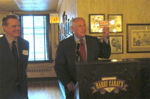 Gov. Quinn showed off his original CUB envelope at Monday's celebration