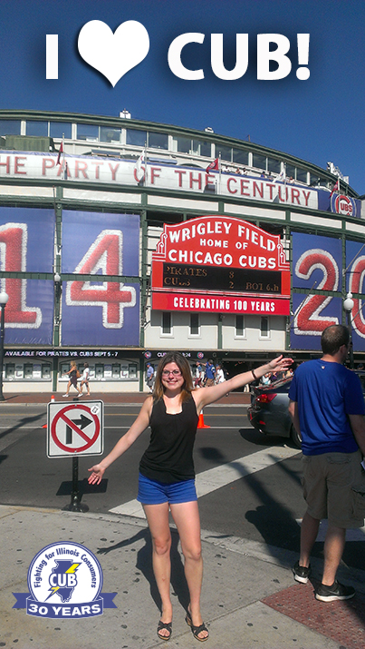 Here's me at Wrigley Field in Chicago—site of the 2014 World Series. (Well, it WILL happen someday!)