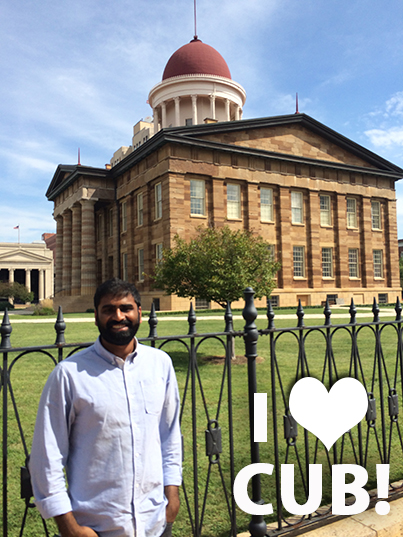 """Rajiv stands in front of the Old State Capitol in Springfield, where Abraham Lincoln gave his great """"House Divided"""" speech."""