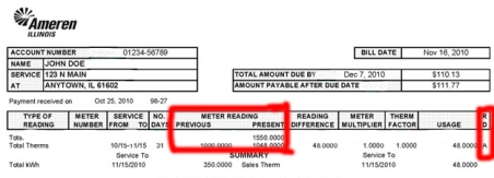 "On Ameren bills, look to the far right column to see if there is an ""A"" for an actual read, or an ""E"" for estimated read."