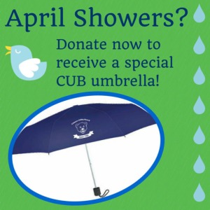 Click here to donate $25 or more and get a special umbrella emblazoned with the CUB bear!