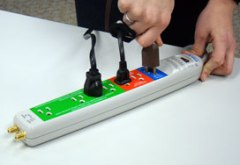 A smart power strip automatically turns off items not in use.  Using one can prevent energy leakage from unused electronics.